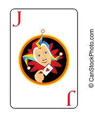 Joker playing card - Sly harlequin head at the center of...