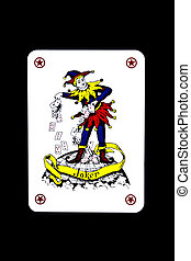 Playing card on a black background