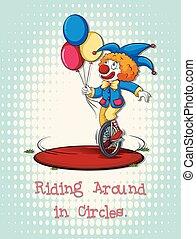 Joker riding on wheel