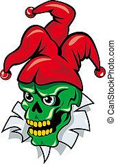 Joker skull on torned paper for tattoo or t-shirt design