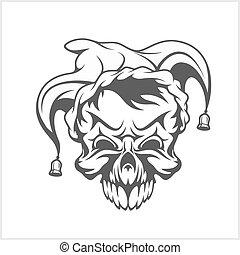 Joker skull wearing a clown jesters cap hat with two bells.