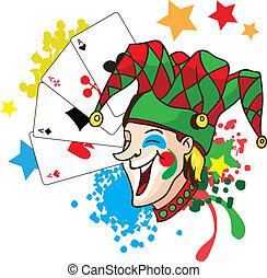 Joker vector illustartion - Smiling joker with cards and...