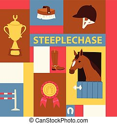 Jokey banner about steeplechase. Vector illustration with champion horse in stable, equipment for horse riding, prizes for championship. Horseshoe helmet brush boots, barrier, cup, medal.