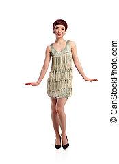 Joking fashion model wearing white dress