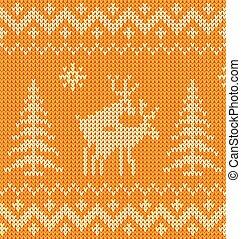 Joking orange knitted ornament with deers - Joking orange...