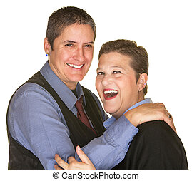 Joking Woman with Butch Partner - Joking lesbian couple in ...