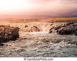 jokulsa, izlandi, zúgó, gleccser, izland, fjollum, vad, folyó