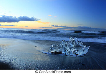 jokulsarlon, 冰山, 冰岛, 冰, 环礁湖, 海滩
