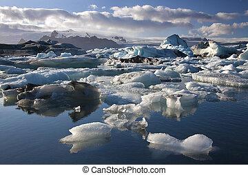 jokulsarlon, glacial, -, laguna, islandia