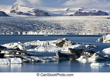 Jokulsarlon glacier lagoon and icebergs in the south of Iceland