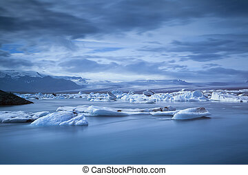 Jokulsarlon Glacier Lagoon. - Long exposure image of the...