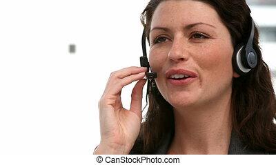 joli, écouteur, femme affaires