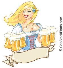 joli, épinglez, girl, à, bière, grandes tasses