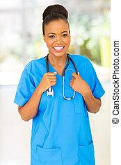 joli, africaine, monde médical, infirmière