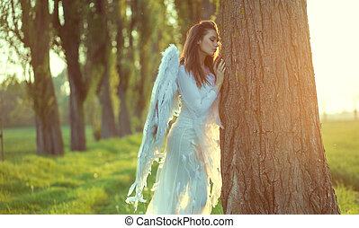 joli, ange, pencher, les, arbre