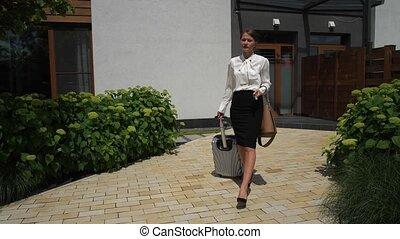 joli, business, aller, femme, valise, voyage