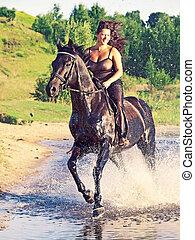 joli, cheval, galoper, femmes