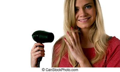 joli, cheveux, sécher, elle, blond