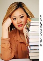 joli, chinois, étudiant