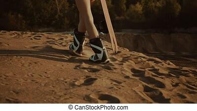 joli, coucher soleil, lumière, venir, sandboarder, falaise