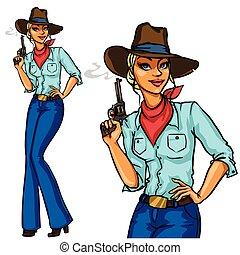 joli, cowgirl, tenue, pistolet tabagisme