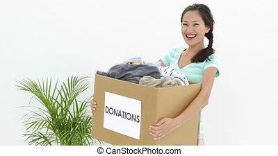 joli, donation, brunette, tenue, bo