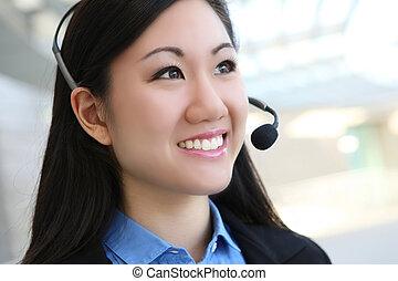 joli, femme, affaires asiatiques
