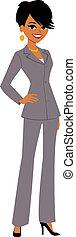 joli, femme affaires, dessin animé, avatar