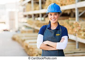 joli, femme, ouvrier industriel
