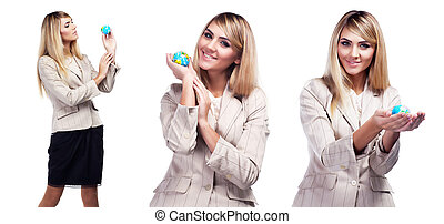joli, femme souriante, tenue, a, mondiale, globe., femme affaires