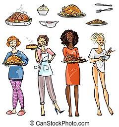 joli, housewifes, à, repas