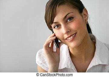 joli, jeune femme, téléphone