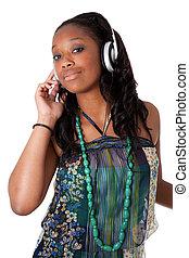 joli, jeune, noir, écoute, musique, girl