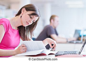 joli, ordinateur portable, -, bibliothèque, femme, livres,...