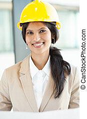 joli, ouvrier construction, jeune, femme