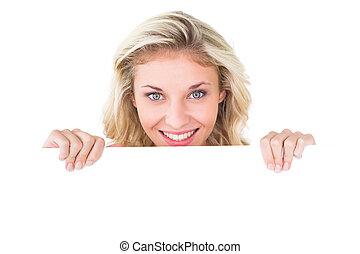 joli, projection, affiche, blond, jeune