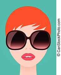 joli, roux, femme, dans, branché, lunettes soleil