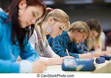 joli, séance, classe, étudiant féminin, collège