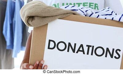 joli, tenue, volontaire, boîte, donation