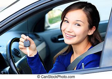 joli, voiture, projection, chauffeur, femme, clã©, blanc