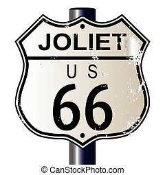 Joliet Route 66 traffic sign over a white background and the legend ROUTE US 66