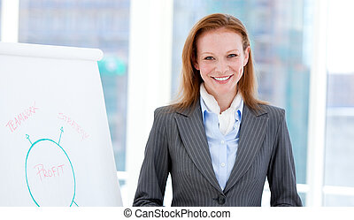 Jolly businesswoman doing a presentation
