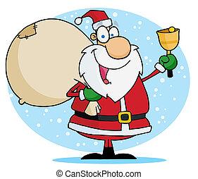 Jolly Christmas Santa Ringing A Bel