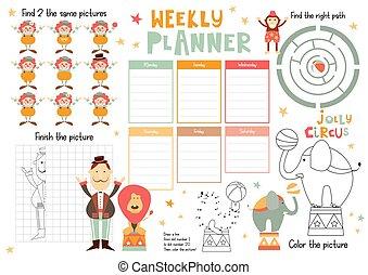 Kids Weekly Planner Template - Jolly Circus Kids Weekly ...