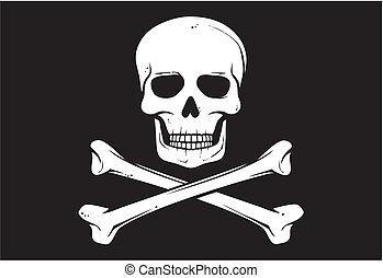 (jolly, flagga, vektor, roger), sjörövare