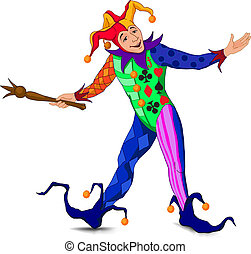 Jolly Joker who stands in a welcoming pose in a bright dress