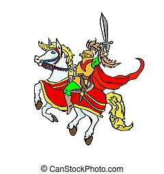 Jolly knight with a sword on a prancing horse. Sitting cartoon character in a red flowing cloak. Vector illustration..