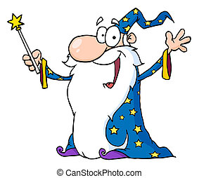 Jolly Old Wizard In A Star Robe, Holding Up His Wand