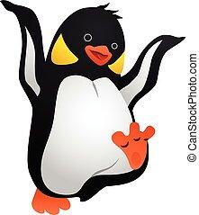 Jolly penguin icon, cartoon style