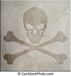 Jolly Roger - A jolly roger symbol embossed on concrete